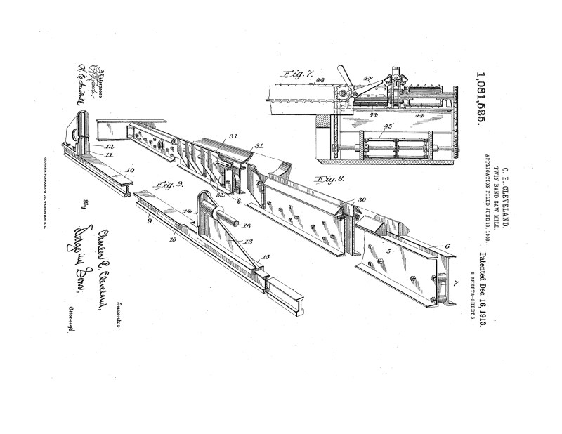 1908 Illustration of patent to improve Twin Band Saw Mill