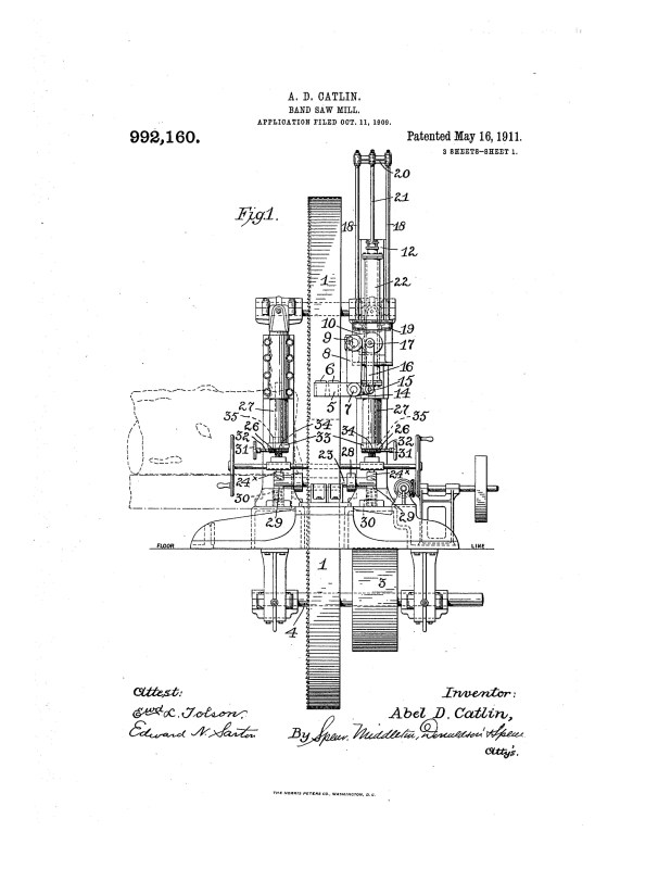 1909 Illustration of patent for an imporved band saw mill