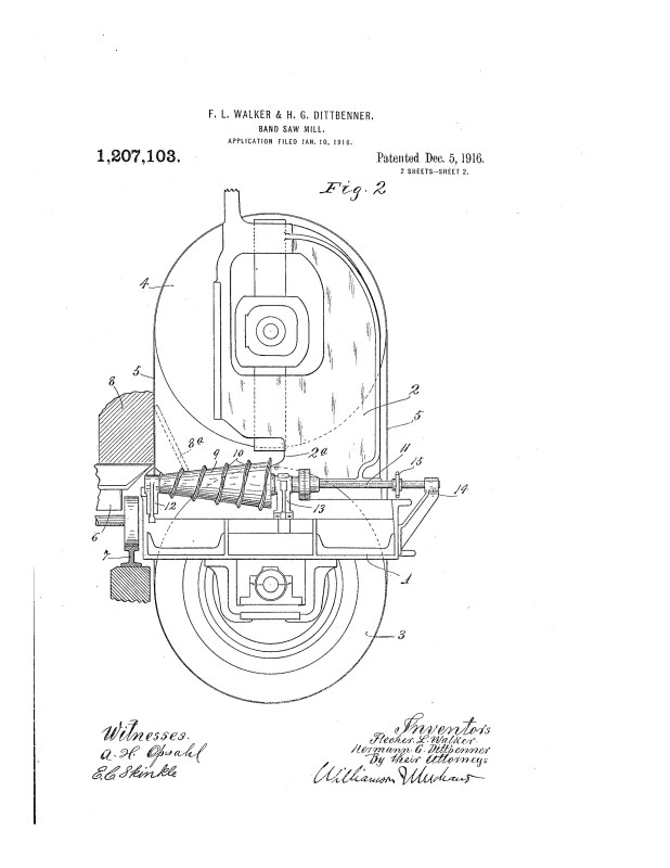 1916 Illustration of patent for taking boards from teh saw