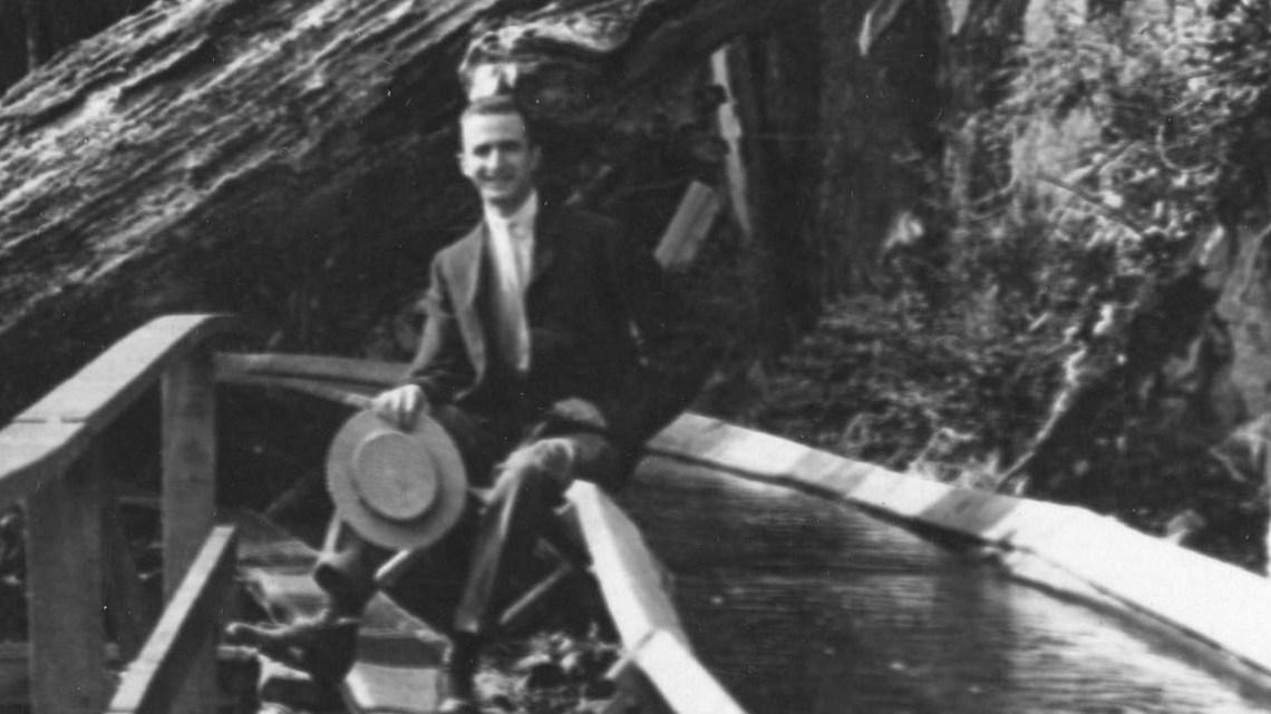 1912-14 A shingle bolt flume in Capilano Canyon, BC.