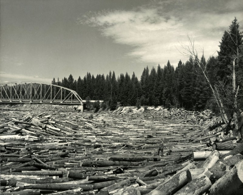1948 Priest River log jam.