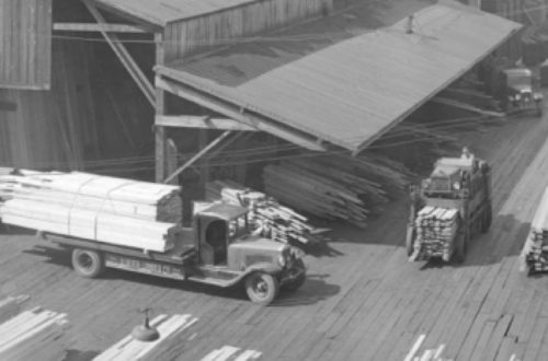 sawmill-1939-Alberta Lumber Co. mill and pier at False Creek b feature