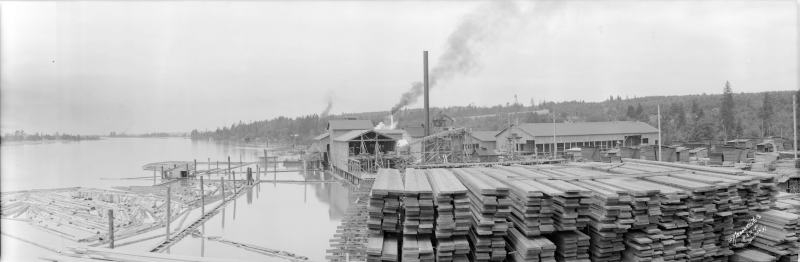 1937 Canadian White Pine Co. mill and lumber yard on the North Arm of the Fraser River.
