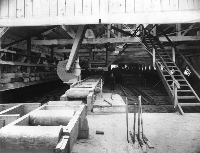 1900 Interior of rebuilt Hastings Sawmill