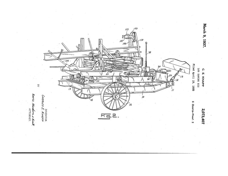 1935 Illustration of a patent for a Log Sawing Rig