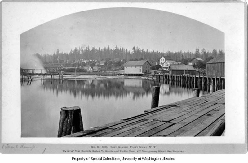 1882 Port Gamble, WA. Puget Mill Co. wharf, sawmill and log pond.