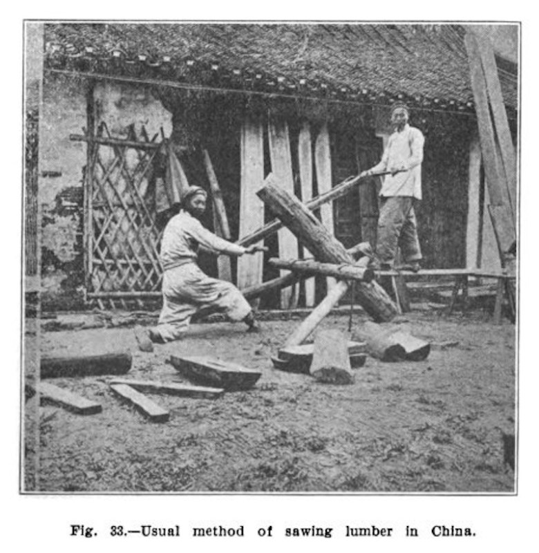 1903 Usual method of sawing lumber in China