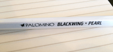 The barrel of the Palomino Blackwing Pearl