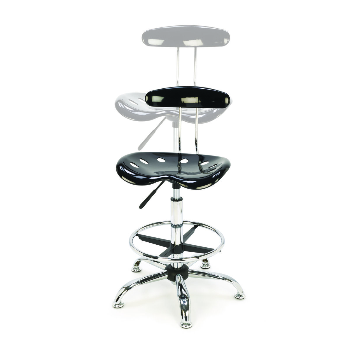 Woodriver Tractor Seat Style Shop Stool With Adjustable Height