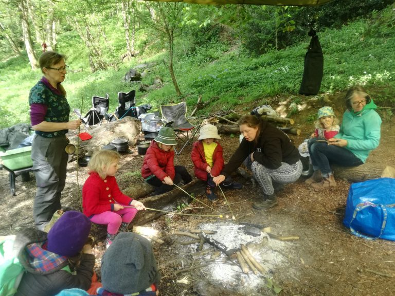 4 Woodchips and 3 adults toasting marshmallows on a small fire