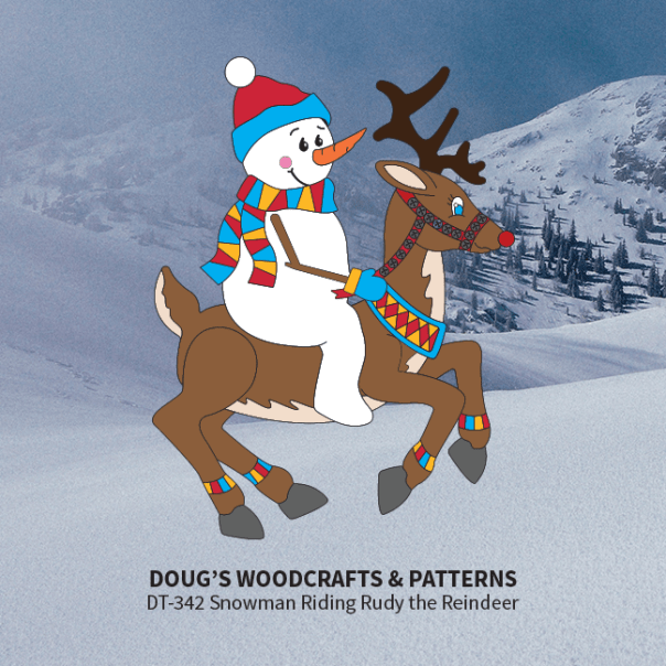 DT-342 Snowman Riding Ruddy the Reindeer