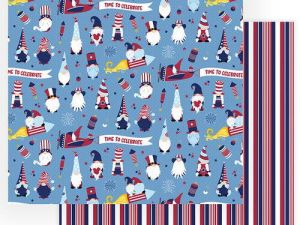 Photo Play Paper - Gnome for July 4th Collection - 12 x 12 Double Sided Paper - Land That I Love