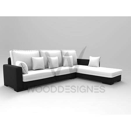 sasa series l shaped sofa black and white