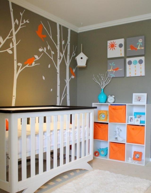 decoration orange bleu et taupe pour une chambre de bebe douce et chaleureuse