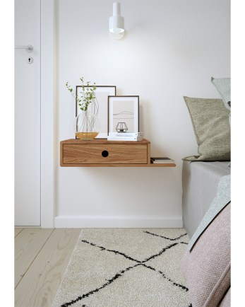 nightstand, floating nightstand, wooden nightstand, bedside table, wooden bedside table