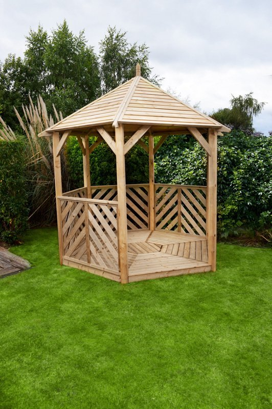 Woodshaw Willoughby Gazebo With Table Amp 5 Benches Open