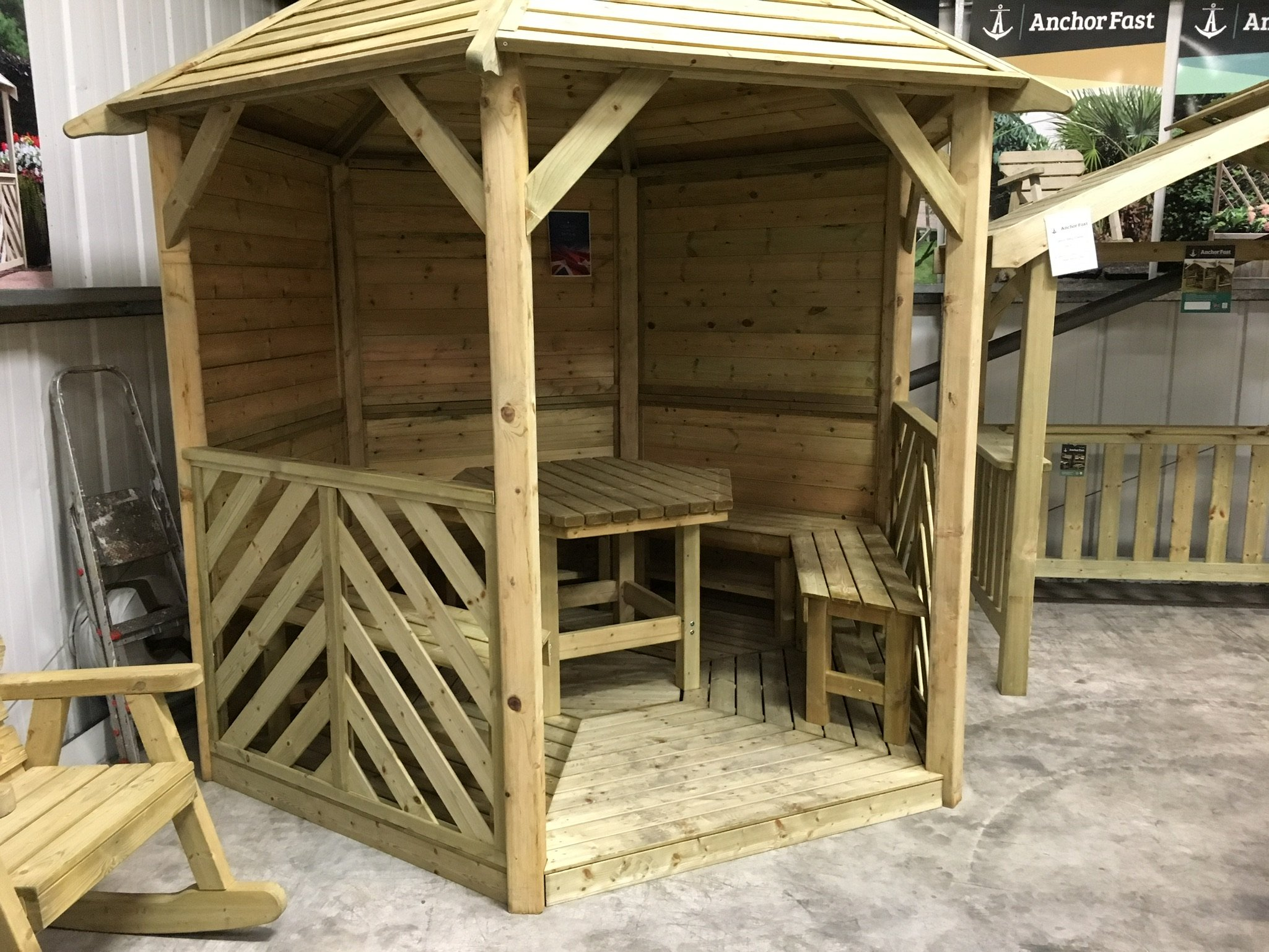 Woodshaw Willoughby Gazebo With Table Amp 5 Benches Solid
