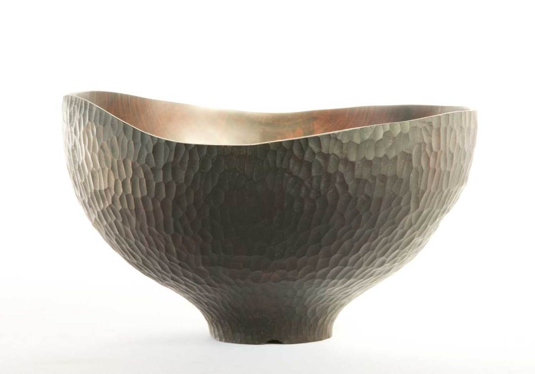 Hand Carved & Ebonised Wooden Bowl
