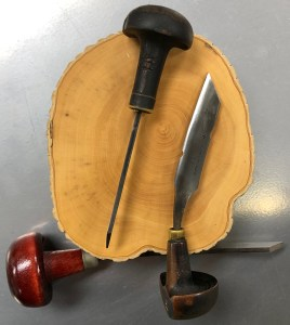 boxwood block and burin engraving tools