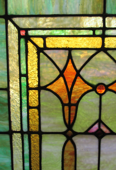 Large Stained Glass Window Wooden Nickel Antiques