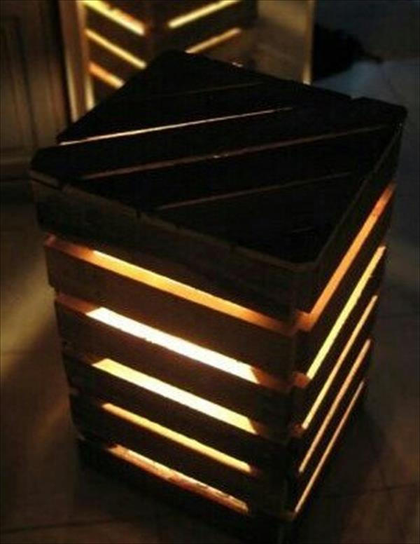 DIY Recycled Pallet Lighted End Table Wooden Pallet Furniture