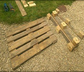 A disassembled pallet