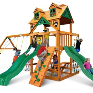 Gorilla Playsets Woodmont Wooden Swingset with Malibu Rood Roof