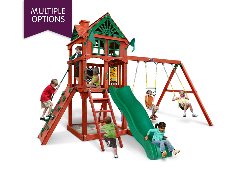 Gorilla Playsets Five Star Ii Wooden Swing Set With Wood Roof Boxed