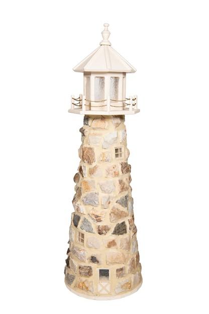 Beaver Dam 5 FT Stone Lighthouse - Ivory