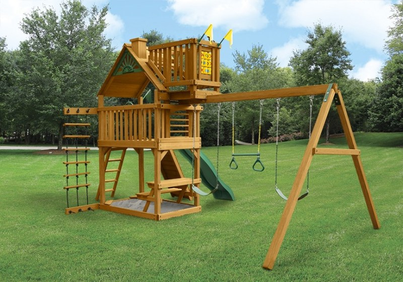 Gorilla Playsets Chateau with Sky Loft - Back View-2