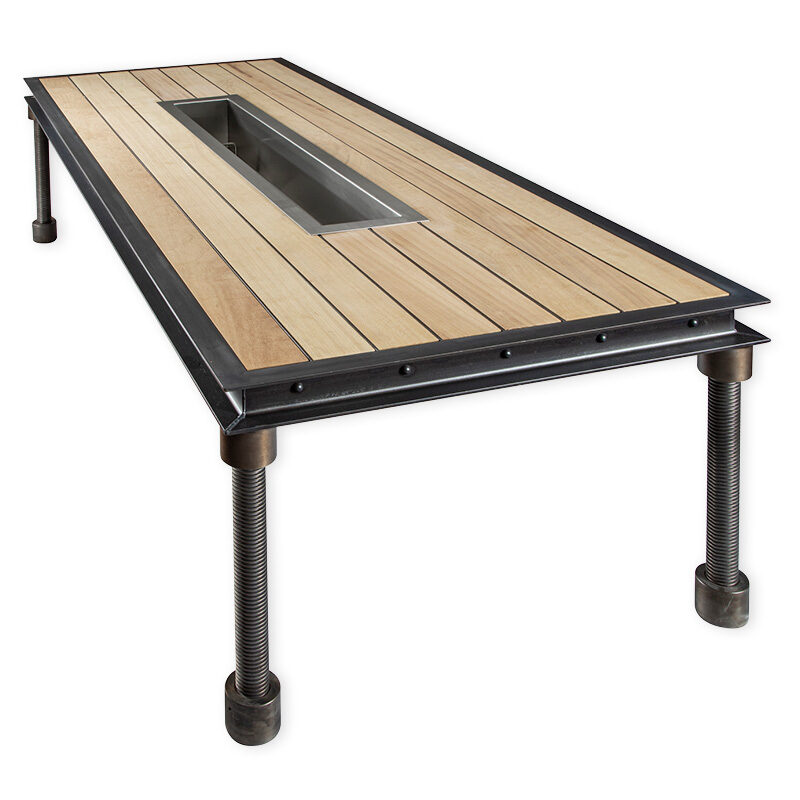 baron outdoor dining table with trough