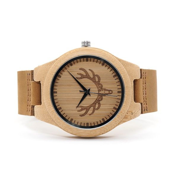 BOBO BIRD WM08 Mens Deer Head Design Buck Bamboo Wooden Watches Luxury Wood Watches With Soft Leather Strap for Men Women 5