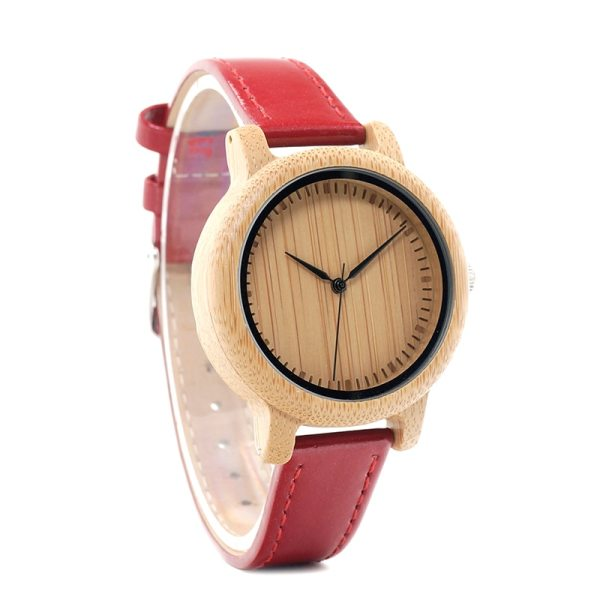 BOBO BIRD WJ09 Simple Style Bamboo Women Watch Bamboo Dial Genuine Red PU Leather Band Quartz Watches Relojes mujer Accept OEM 3