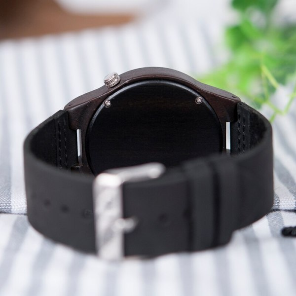 BOBO BIRD WB12 Men's Asymmetric Design Ebony Wooden Watches with Soft Leather Band with Gift Box as Gift Dropshipping Accept OEM 6
