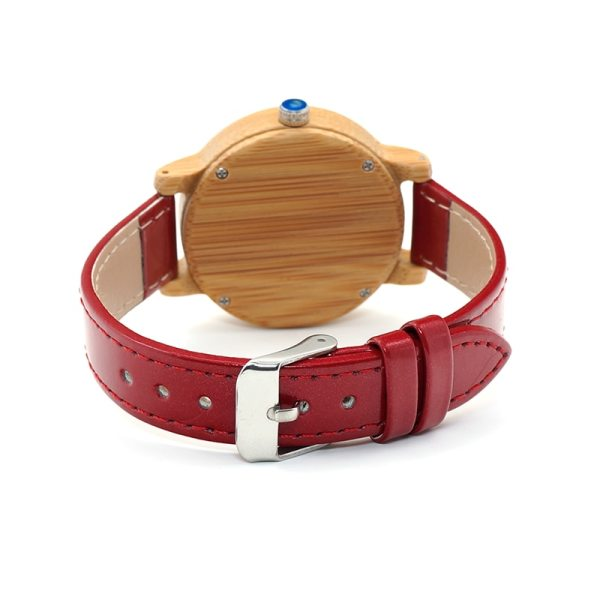 BOBO BIRD WJ09 Simple Style Bamboo Women Watch Bamboo Dial Genuine Red PU Leather Band Quartz Watches Relojes mujer Accept OEM 5