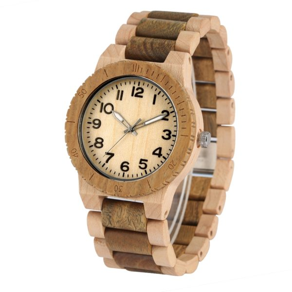 Quartz Wood Watch for Men Natural Maple Strap Wooden Watches for Female Luminous Pointers Wooden Wristwatch relogios masculinos 1