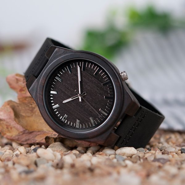 BOBO BIRD WB12 Men's Asymmetric Design Ebony Wooden Watches with Soft Leather Band with Gift Box as Gift Dropshipping Accept OEM 4
