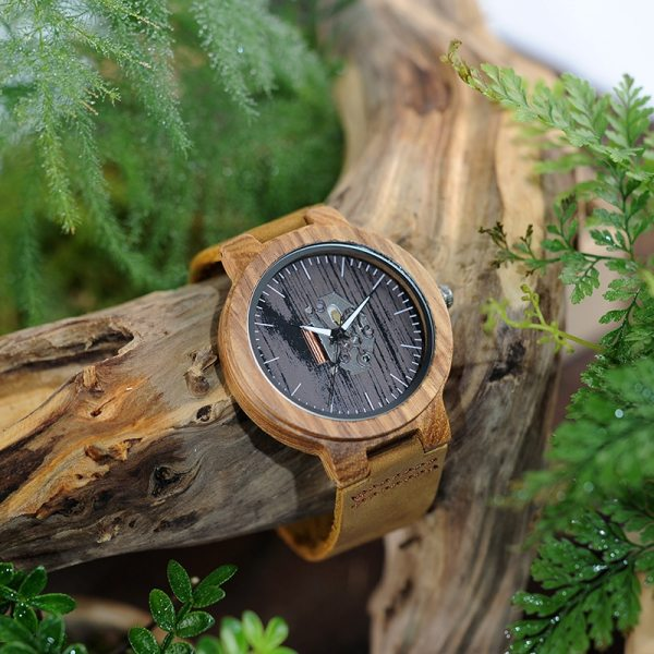 BOBO BIRD Watch Men Real Leather Band Wooden Quartz Wooden Watches Mens Wristwatch Great Men's Gift relogio masculino W-H29 5