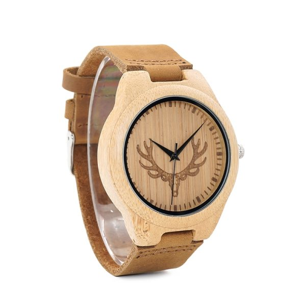 BOBO BIRD WM08 Mens Deer Head Design Buck Bamboo Wooden Watches Luxury Wood Watches With Soft Leather Strap for Men Women 4