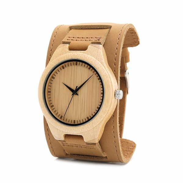 BOBO BIRD Mens Bamboo Wood Watches Chicago Bracelets Detachable Wide Soft Leather Band Straps with Gift Box OEM DropShipping 4