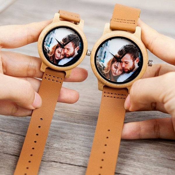 Creative Personality Lovers Watches UV Printing Photos Customers Bamboo Watch Customization Print OEM Great Gift for Love OEM 2