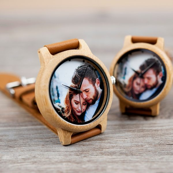 Creative Personality Lovers Watches UV Printing Photos Customers Bamboo Watch Customization Print OEM Great Gift for Love OEM 3