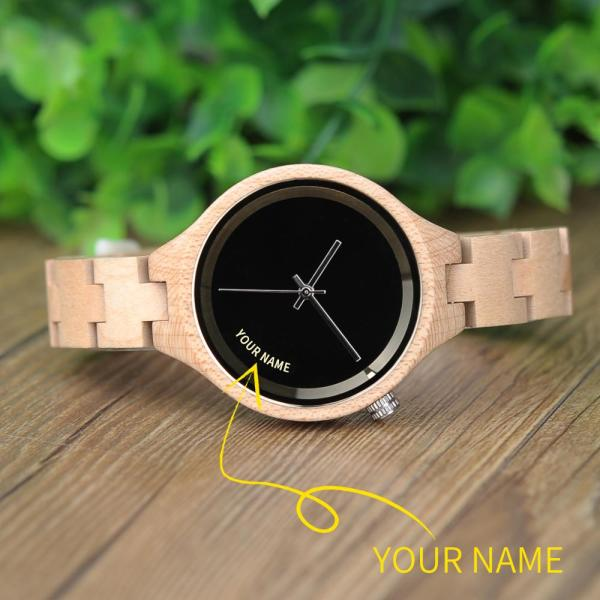 BOBO BIRD Woman Watch Customized Name On Dial Wooden Simple Design Personalized Wristwatch Dropshipping In Gift Box reloj mujer 5