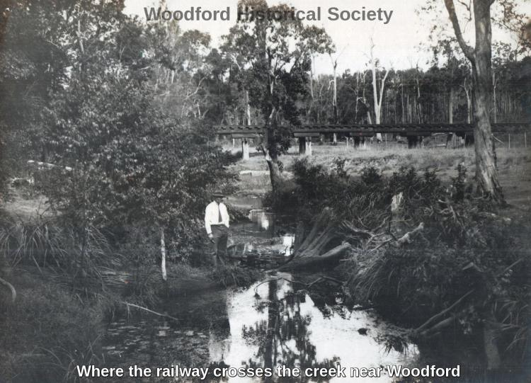 Where the railway crosses the creek near Woodford