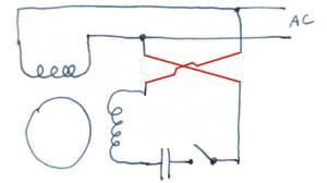 Reversing single phase induction motors