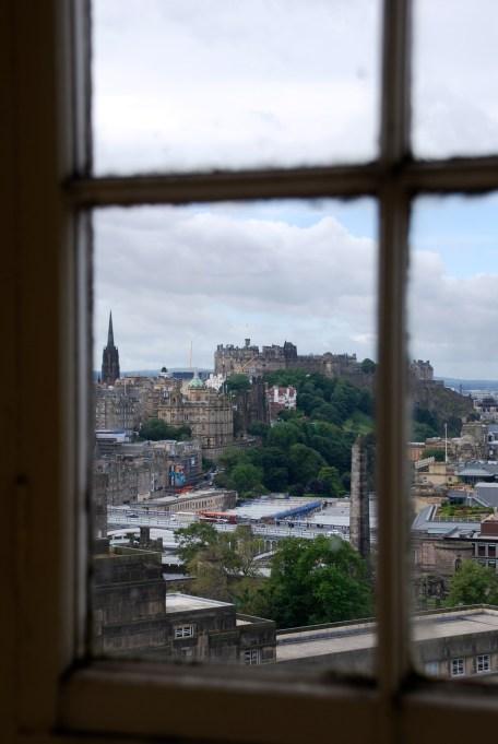 Edinburgh Castle through a window of the Lord Nelson Monument