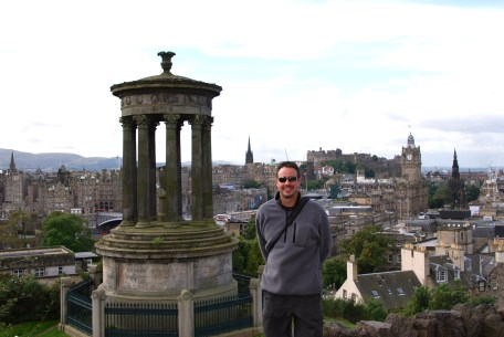 Gary, and a view of Edinburgh Castle from Calton Hill