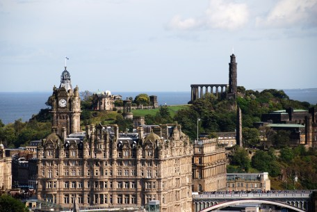 Looking at Calton Hill from Edinburgh Castle