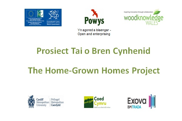 First slide from a power point presentations with logos of organisations and funders involved with the Home Grown Homes Project