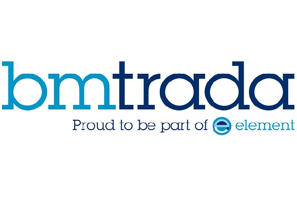 "Logo for BM TRADA in 2 shades of blue with strapline under neath ""Proud to be part of element"""